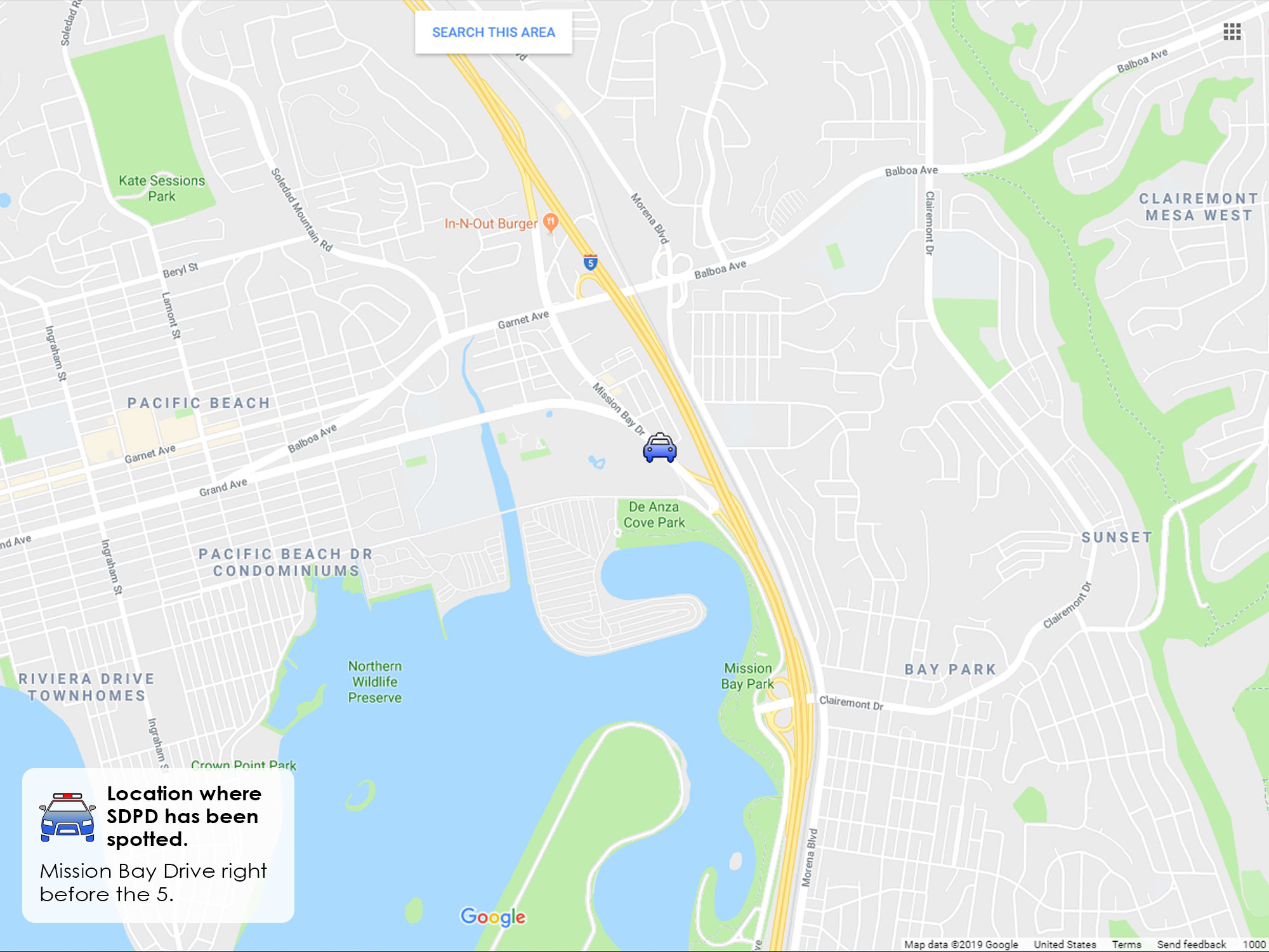 San Diego DUI checkpoint on Mission Bay Drive